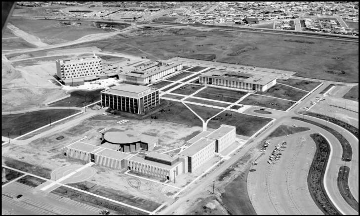 Aerial view of quadrangle which would become Swann Mall