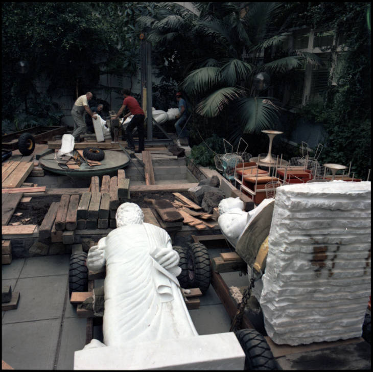 Arts and Education (later Administration) building atrium -- Condon statue installation