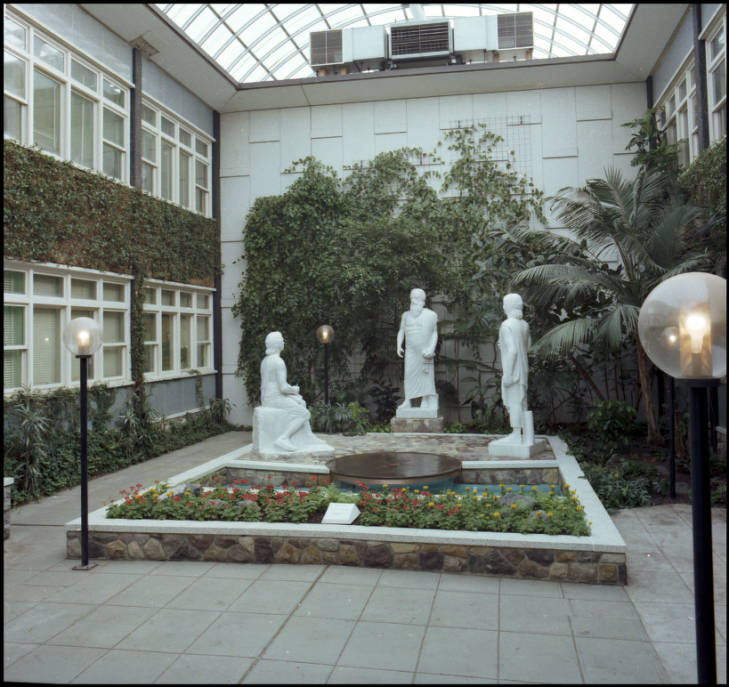 Arts and Education (later Administration) building atrium -- Condon statue installed