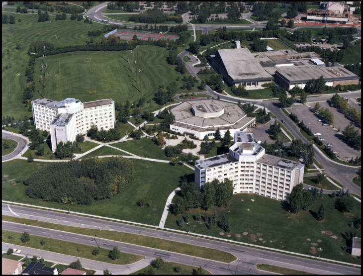 Kananaskis and Rundle Halls, Dining Centre -- aerial view