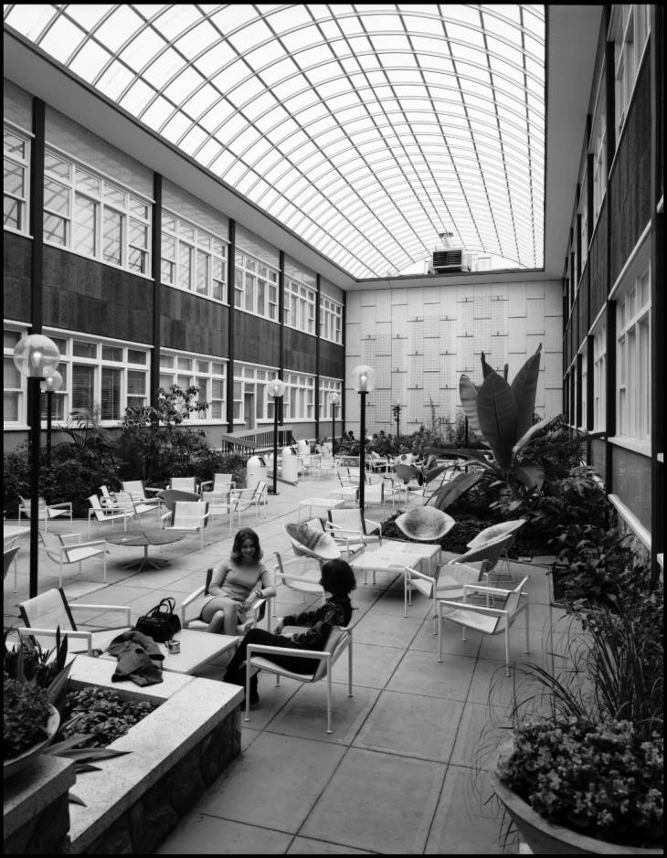 Arts and Education (later Administration) building atrium prior to Greek statues being installed
