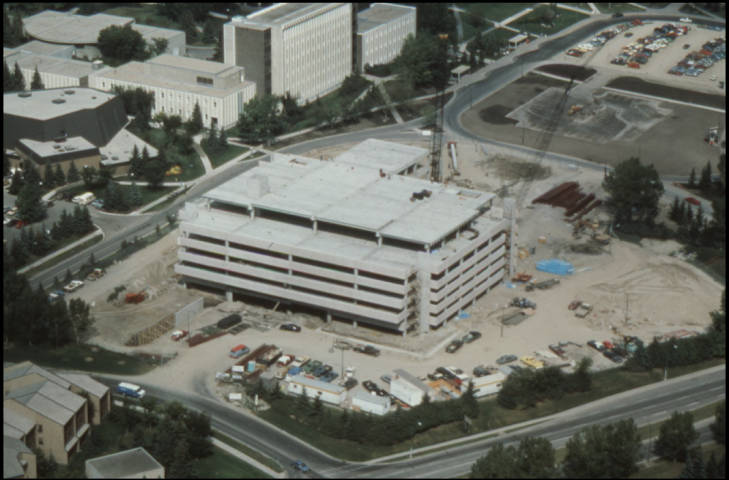 Art building and parkade - aerial view