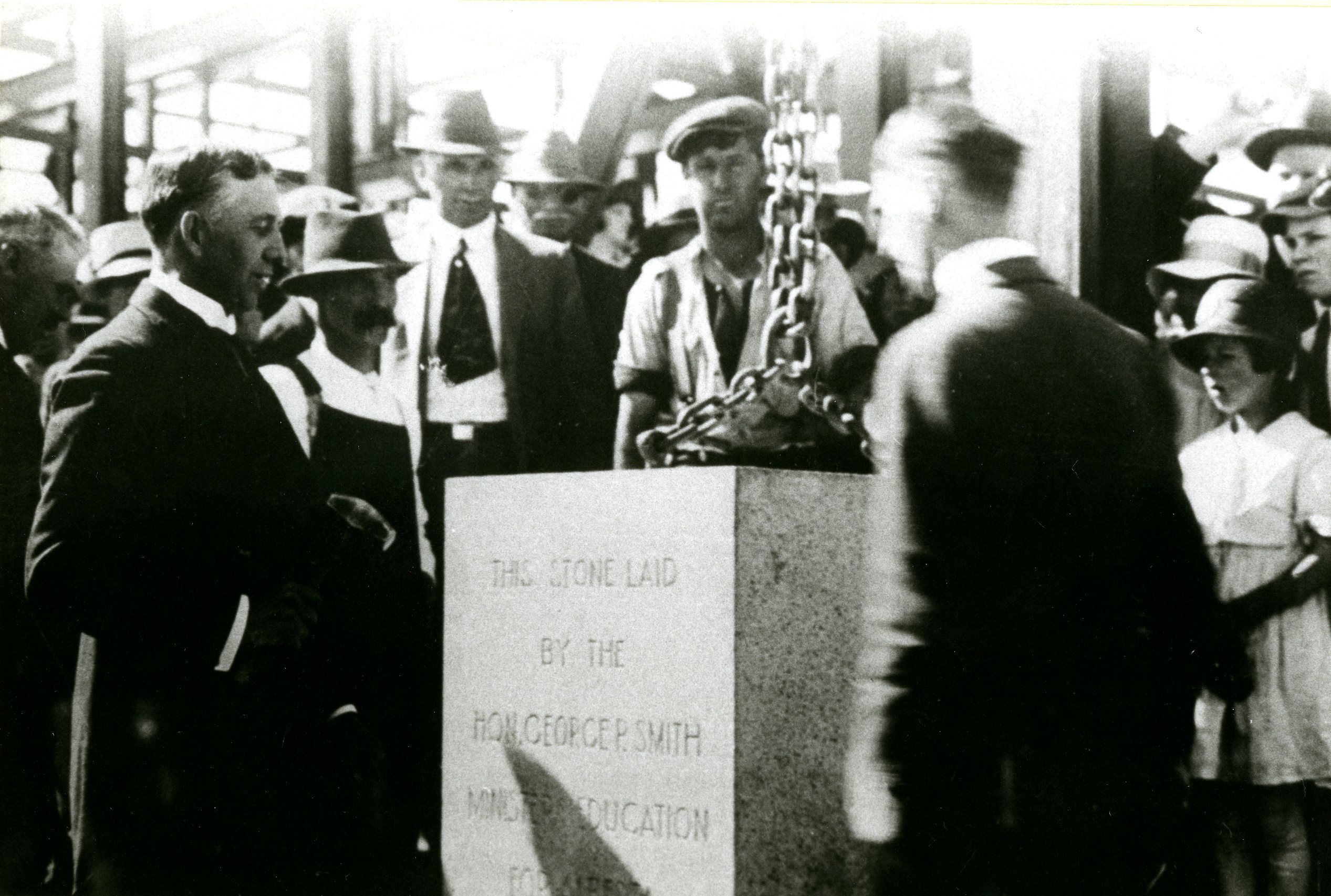 Laying the cornerstone of the Provincial Institute of Technology and Art. With permission of SAIT Archives